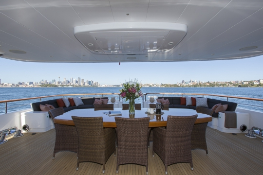 Motor Yacht Masteka 2 for charter - main deck aft dining table