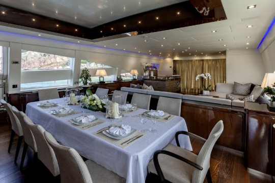 Motor Yacht My Toy AB yachts for charter - dining room and salon