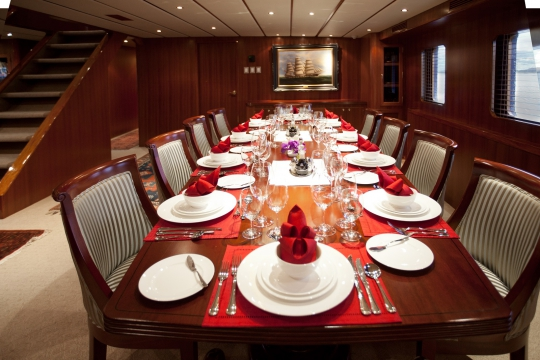Motor Yacht Northern Sun for charter - dining table 1