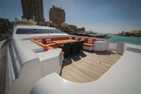 Motor Yacht Al Asmakh for sale - foredeck dining