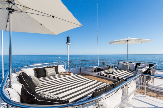 Motor Yacht QM of London Benetti for charter - sundeck pads