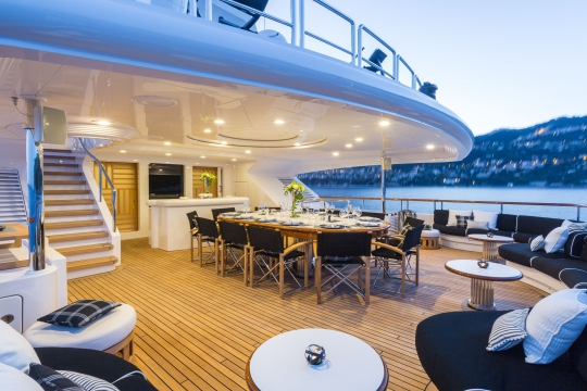 Motor Yacht QM of London Benetti for charter - bridge deck aft