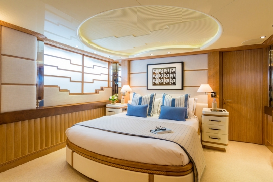 Motor Yacht QM of London Benetti for charter - guest cabin.
