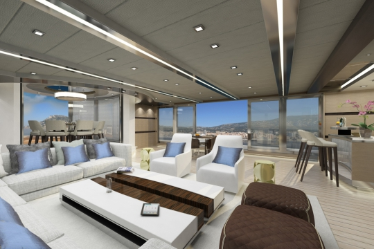 Motor yacht Blade 52  - bridge deck saloon