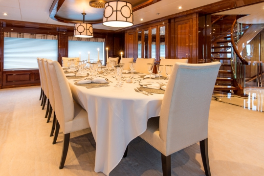 Motor Yacht Remember When Christensen for charter - dining saloon