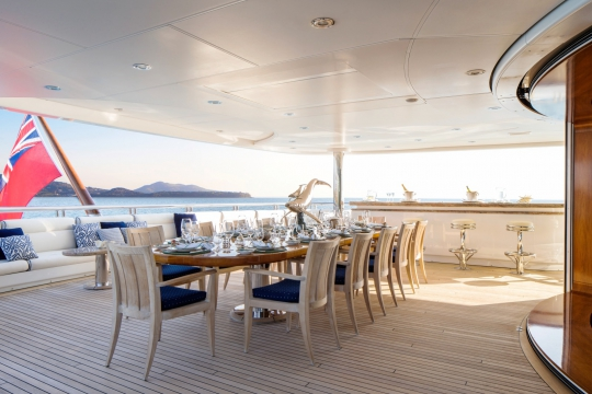 Titania - Motor yacht for charter Lurssen Titania for - aftdeck dining.jpg