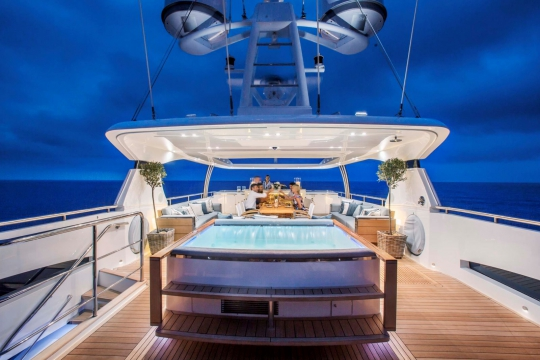 Princess 40M - Princess 40m yacht for sale - sundeck jacuzzi by night.jpg