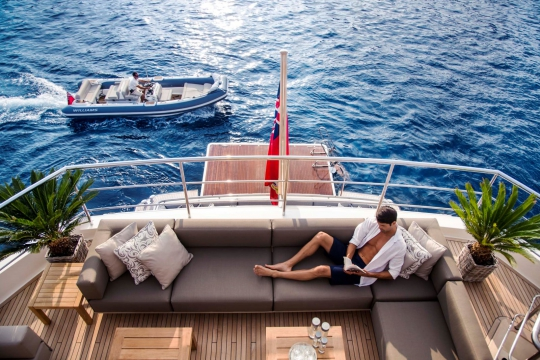 Princess 40M - Princess 40m yacht for sale - upepr deck aft view.jpg
