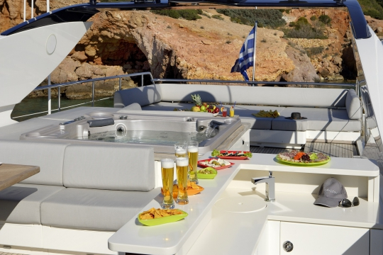 Motor Yacht Dragon Couach for charter - sundeck