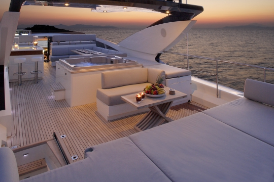 Motor Yacht Dragon Couach for charter - sundeck night