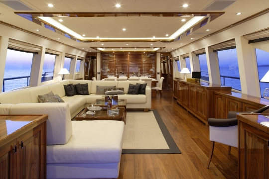 Motor Yacht Dragon Couach for charter - main salon and dining room