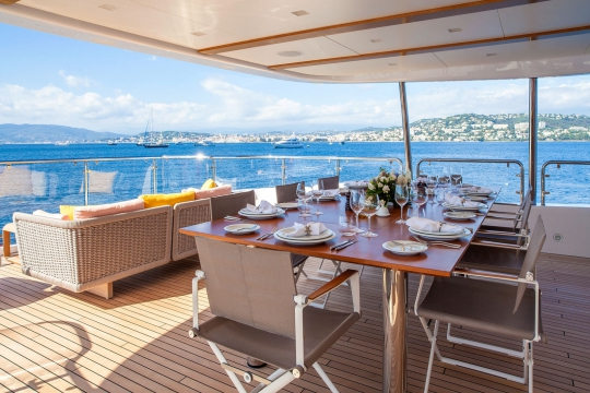 Motor Yacht Dyna® Benetti for charter - bridge deck aft