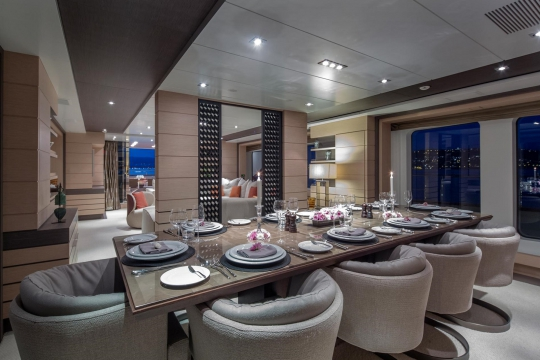 Motor Yacht Dyna® Benetti for charter - dining room