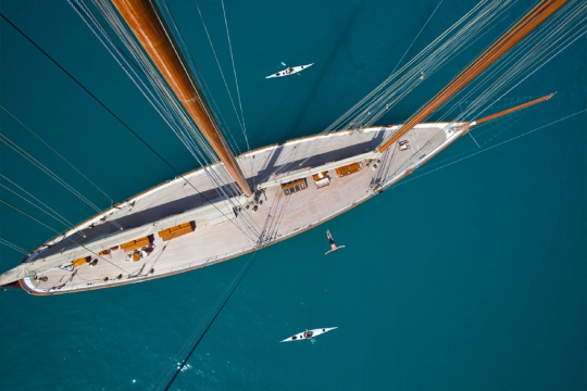 Sailing Yacht Elena for charter - deck view from mast