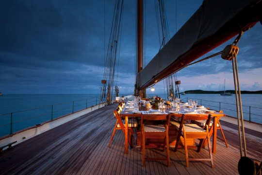 Sailing Yacht Elena for charter - al fresco dining night