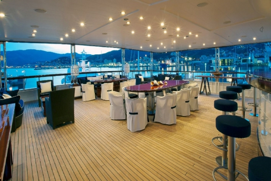 Motor Yacht Force Blue Royal Denship for charter - bridge deck aft
