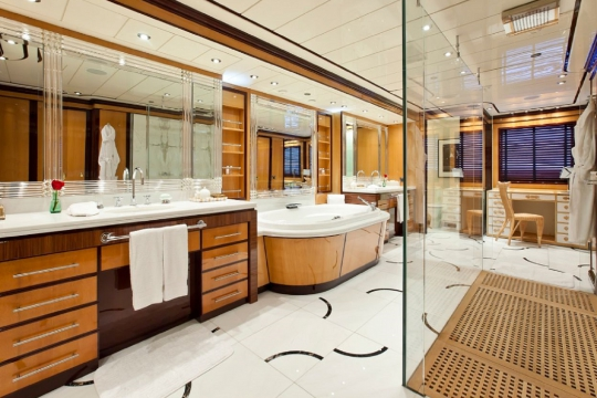 Motor Yacht Force Blue Royal Denship for charter - master bathroom