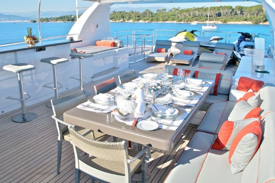 Motor Yacht Gems for charter - sundeck dining table