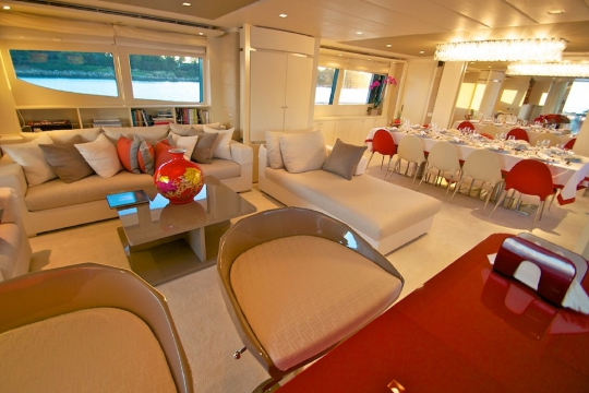 Motor Yacht Gems for charter - saloon and dining table
