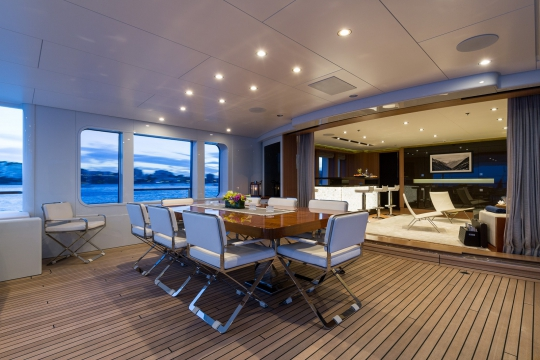 Motor Yacht Go Feadship for charter - bridge deck dining table