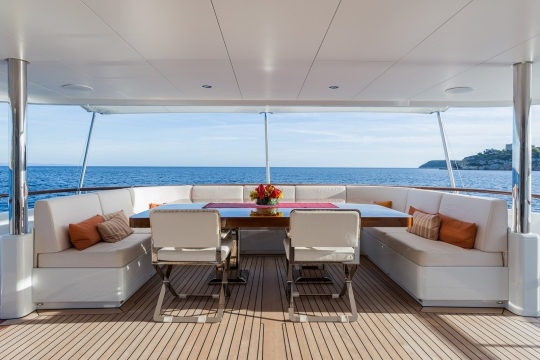 Motor Yacht Go Feadship for charter - main deck aft dining