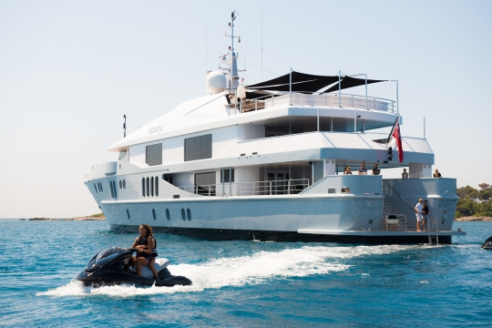 Motor Yacht Idol for charter - at anchor jetski toys