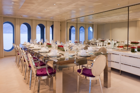 Motor Yacht Idol for charter - dining table
