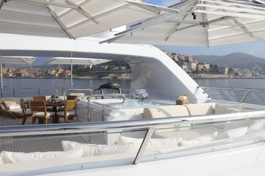 Motor Yacht Kathleen Anne Feadship for charter - sundeck jacuzzi