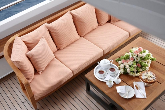 Motor Yacht Kathleen Anne Feadship for charter - main deck aft lounge