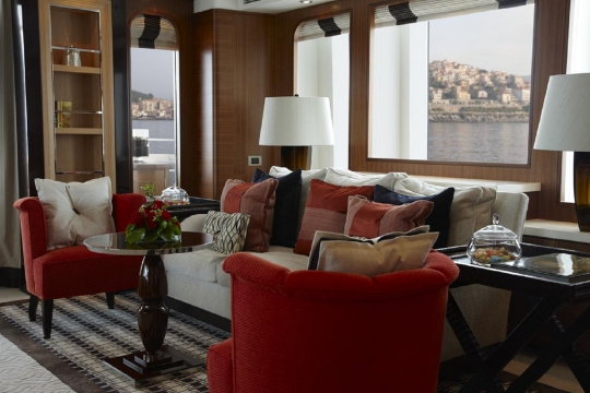 Motor Yacht Kathleen Anne Feadship for charter - main deck saloon