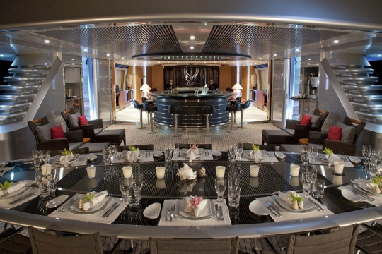Sailing Yacht Maltese Falcon Perini Navi for charter - dining table night